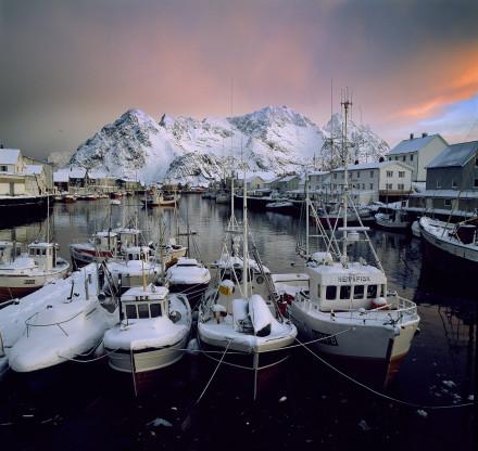 Insnöade fiskebåtar vid Henningsvaer hamn; Lofoten Norge.