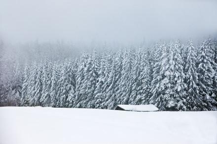 Vintermilj med lada och skog vid Norr Lindberg,Leksand, Dalarna.