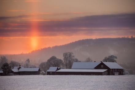 Vinterljus med en solnedgång,Gagnef