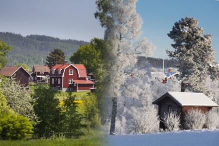 Sommar vinter vy över byn Ytteråkerö,Leksand,Dalarna