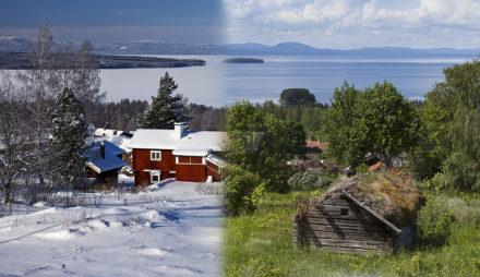 Sommar vintervy över Siljan,Tällberg,Dalarna